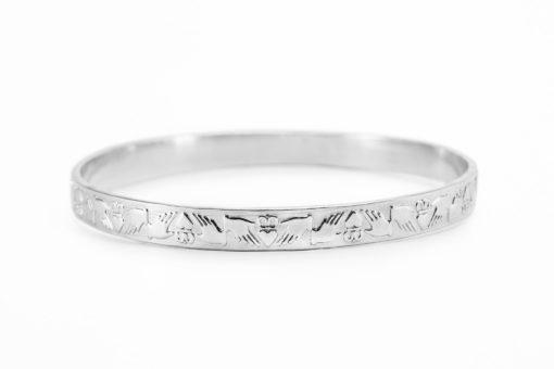 Irish Claddagh Silver Bracelet